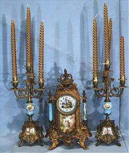 French 3 piece clock set with Sevres plaque scenes