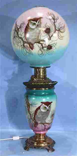 Monumental banquet oil lamp with owl shade and base