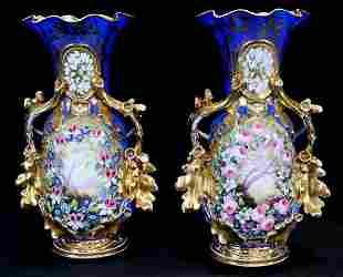 Pair of 19th Century royal blue old Paris vases