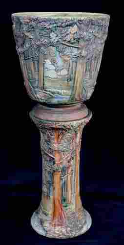 Weller Jardiniere on stand with wood scene