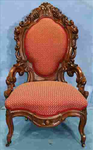 Solid mahogany rococo ladies hip rest chair