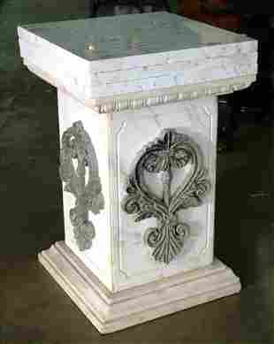 Extremely heavy white marble pedestal, 31.5 in. T.