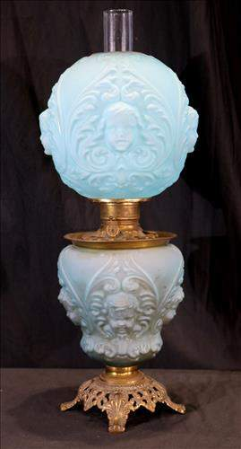Rare powder blue satin glass gone with wind lamp