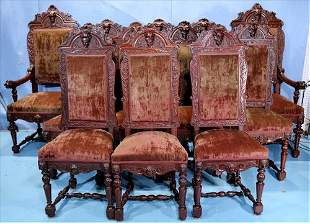 12 very rare walnut Egyptian revival dining chairs