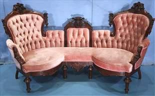 Lg. walnut Victorian triple back sofa attrib. to