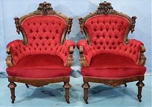 Pair of walnut Victorian parlor chairs by J. Jelliff