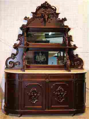 Large walnut Victorian marble top sideboard