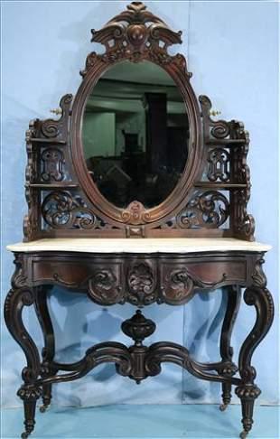 Rosewood rococo dressing table attrib. to Mallard