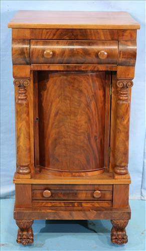 Flamed mahogany Empire bedside stand