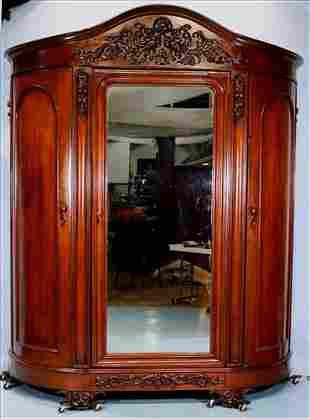 Walnut Victorian oversized 3 door wardrobe