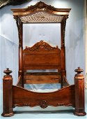 Rosewood rococo half tester bed by P. Mallard