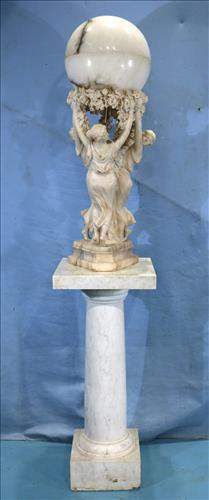 Heavily carved alabaster lamp of 3 Graces