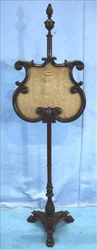 Mahogany Victorian fire screen with claw feet