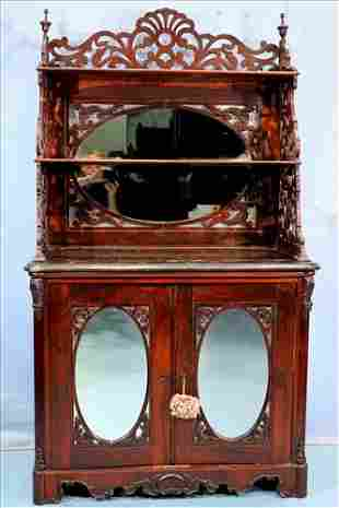 Rosewood Victorian cabinet model etagere