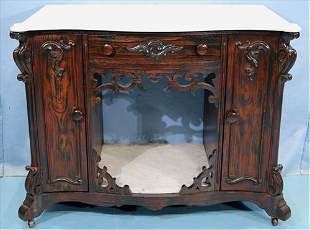 Rosewood Victorian commode with marble top