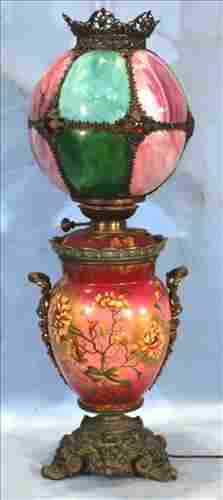 Oil Lamp with slag glass shade and gold flowers