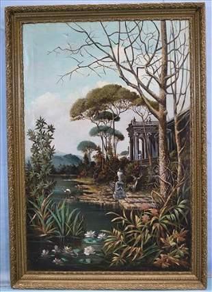 Large 19th Century oil on canvas of garden scene
