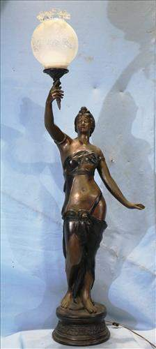Art Nouveau style figurine lamp