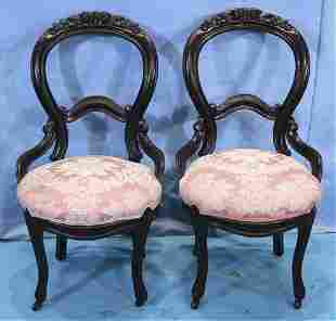 Pair balloon back Victorian side parlor chairs