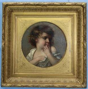 Victorian oil on canvas of little girl, 28 in. Sq.