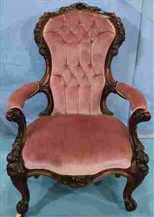 Rosewood rococo arm parlor chair