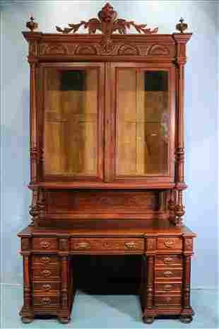 Walnut Victorian step back secretary desk