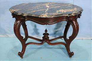 Walnut Victorian marble turtle top parlor table