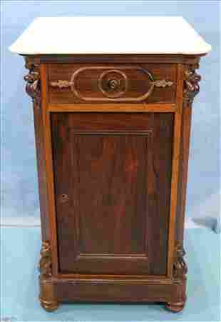 Rosewood Victorian half commode with marble