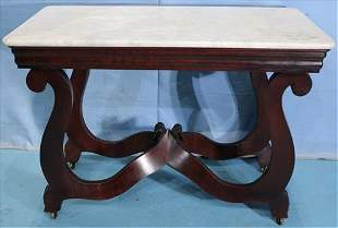Mahogany empire marble top console table