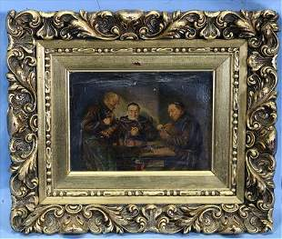 Oil on canvas of 3 monks in gold gilded frame