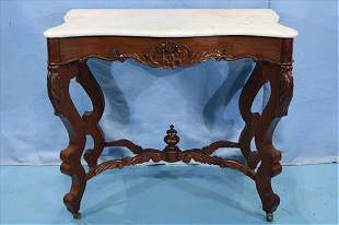 Rosewood Victorian console table with marble