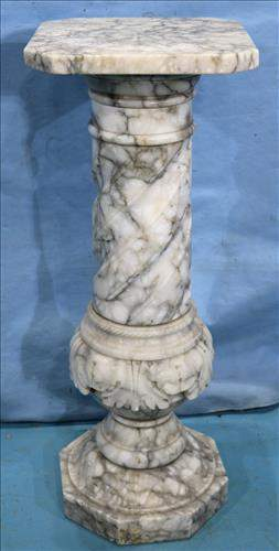 Rare antique grey and white marble pedestal