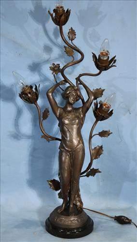 Art Nouveau newel post lamp, 32 in. T.