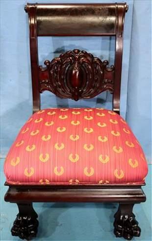 Solid mahogany empire parlor chair