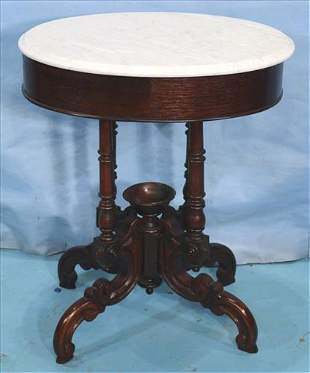 Unusual oval marble top rosewood lamp table