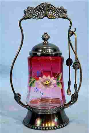 Victorian pickle caster with cranberry jar, 11 in. T.