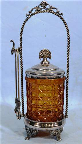 Victorian silver-plate pickle caster with amber jar