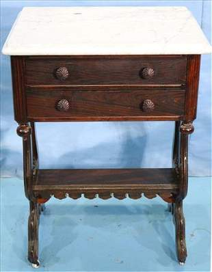 Rosewood grain marble top work table with marble