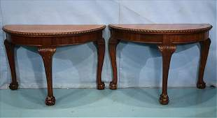 Pair of matching mahogany console tables