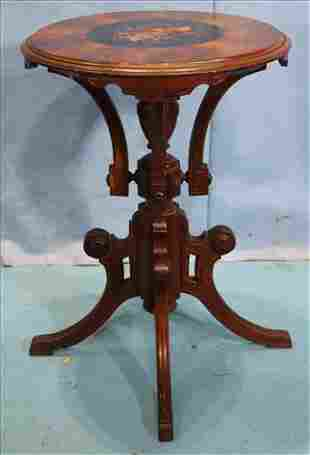 Walnut Victorian round lamp table, Herter style