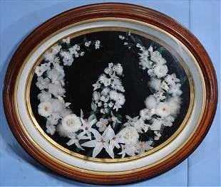 Feather wreath in walnut Victorian shadow box