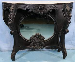 Rosewood rococo marble top console table