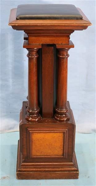 Walnut Victorian pedestal with 4 columns