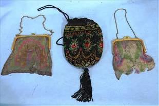 3 beaded Victorian purses