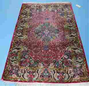 Antique Persian silk rug, tight knotted, 6 ft. 4 in.