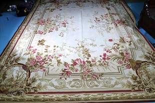 Large needlepoint rug, beige with red roses