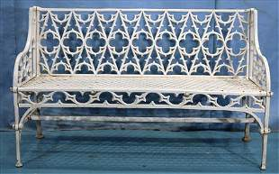 Gothic style cast iron garden bench
