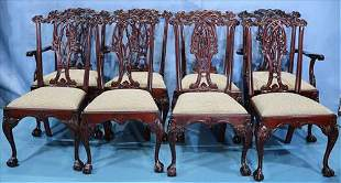 Set of 8 Chippendale dining chairs, ball and claw feet