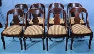 Set of 8 mahogany Empire dining chairs