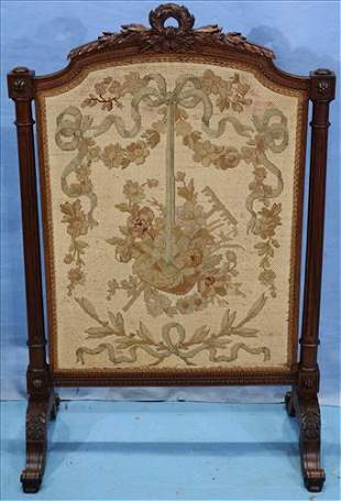 Walnut Victorian fire screen with tapestry